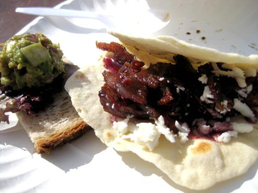 avocado bacon salad and bacon taco