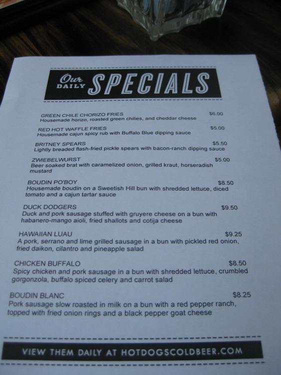 Frank's menu