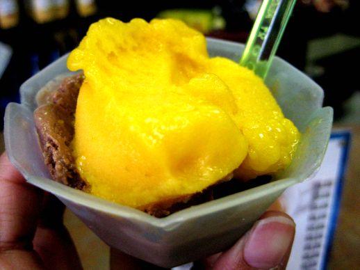 Mango sorbetto & chocolate gelato