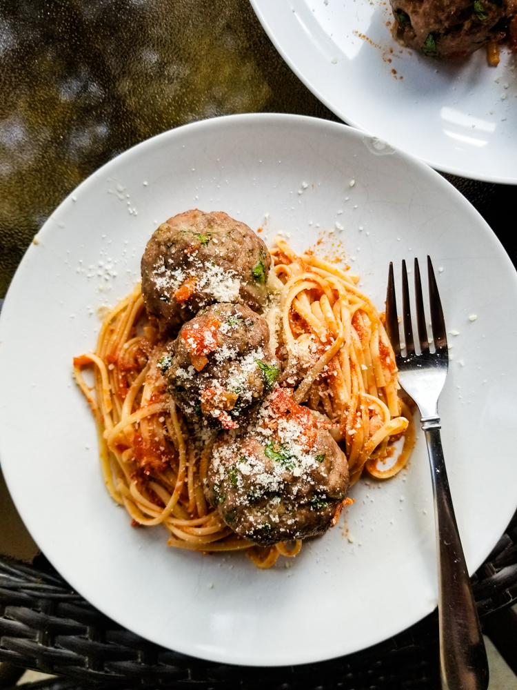 Pasta all'Amatriciana With Spicy Mozzarella Meatballs