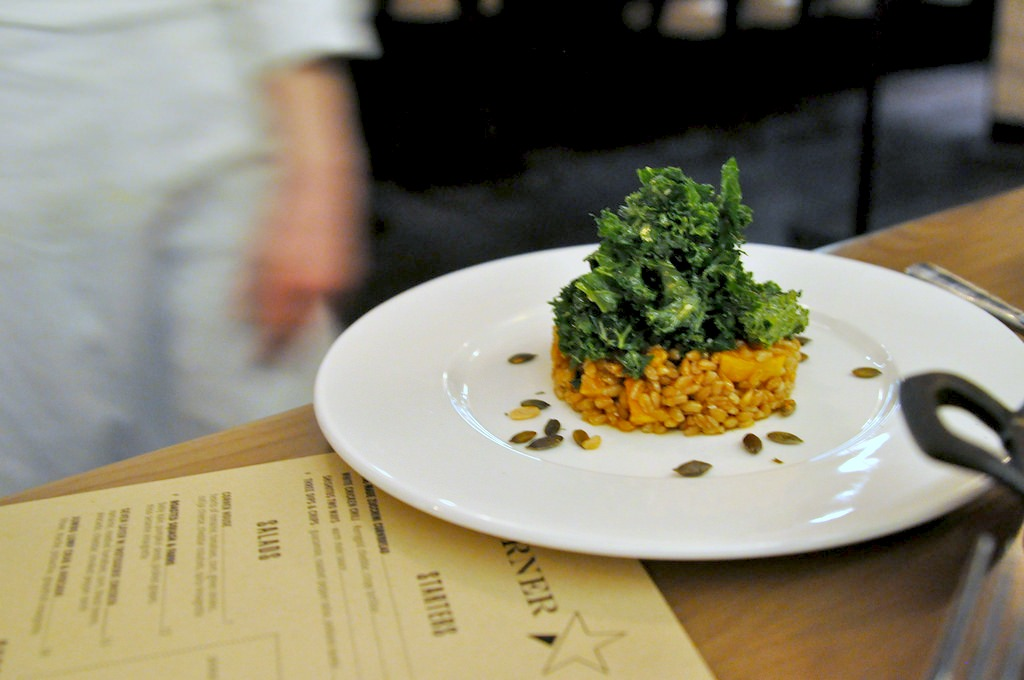 Squash & Farro Salad , baby kale, pumpkin seeds, pickled grapes, miso ...